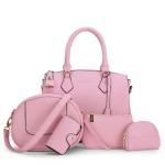 พร้อมส่ง กระเป๋าถือและสะพายข้าง เช็ต 5 ใบ กระเป๋าหรูคุณนายแฟชั่นเกาหลี Sunny-721สีชมพูอ่อน 1 เช็ต