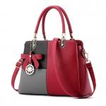 ขายส่งกระเป๋าผู้หญิงถือและสะพายข้าง เย็บสลับสีแต่งโบว์แฟชั่นสไตล์ยุโรป รหัส Yi-8165 สีแดงสลับ