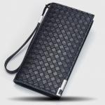 พร้อมส่ง กระเป๋าสตางค์ใบยาว ใส่โทรศัพท์ ลายสานผู้ชายแฟขั่นเกาหลี รหัส Man-QBA017 สีน้ำเงิน