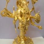 พระพิฆเนศ ปางปราบพญามาร 8 กร 9นิ้ว เนื้อทองเหลือง ลงรัก ปิดทองแท้
