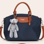 พร้อมส่งกระเป๋าถือและสะพายข้าง ผ้ากันน้ำ แฟชั่นเกาหลี Sunny-741 สีน้ำเงิน * แถมตุ๊กตาหมี