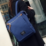 พร้อมส่ง กระเป๋าเป้ผ้า สะพายหลังใบใหญ่ สไตล์Anello-flap ติดโลโก้ LIVING TRAVELING SHARE แฟชั่นเกาหลี Fashion bag รหัส NA-436 สีน้ำเงิน