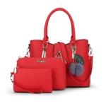 พร้อมส่ง ขายส่งกระเป๋าถือและสะพายข้างผู้หญิง เช็ต 3 ใบแต่งหยดน้ำ แถมพู่เชอรี่ แฟชั่นยุโรป Sunny-887 สีแดง