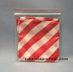 ผ้าเยื้อไม้ 18 นิ้ว สีขาว ลายคาดแดง