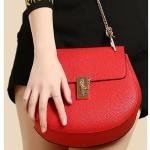 ขายส่ง กระเป๋าถือและสะพายข้าง สายสะพายโซ่ กระเป๋าหรูคุณนายแฟชั่นเกาหลี Sunny-652 แท้ สีแดง