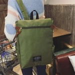 พร้อมส่ง กระเป๋าเป้ผ้า สะพายหลังใบใหญ่ สไตล์Anello-flap ติดโลโก้ LIVING TRAVELING SHARE แฟชั่นเกาหลี Fashion bag รหัส NA-436 สีเขียวทหาร