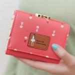 พร้อมส่ง กระเป๋าสตางค์ใบสั้นผู้หญิง กระเป๋าสตางค์นักเรียน แฟชั่นเกาหลี รหัส DA-883 สีแดงแตงโม