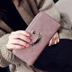 พร้อมส่ง กระเป๋าสตางค์ใบยาว คลัทซ์ผู้หญิง ซิปรอบพร้อมสายคล้องมือ แฟชั่นเกาหลี รหัส G-5343 สีม่วง 1 ใบ