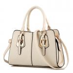 พร้อมส่ง ขายส่งกระเป๋าผู้หญิงถือลาย แต่งเข็มขัด กระเป๋าผู้ใหญ่ถือออกงาน ถือทำงาน รหัส Yi-2093 สีขาว