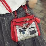 พร้อมส่ง ขายส่ง กระเป๋าถือและสะพายข้างผู้หญิงใบเล็ก ขนตา ประดับเลื่อมแฟชั่นเกาหลี รหัส D-388 สีแดง