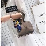 พร้อมส่ง ขายส่ง กระเป๋าถือพลาสติกโปร่งใส ผูกผ้าพันคอแฟชั่นเกาหลี รหัส A-9915 สีน้ำตาล 1 ใบ