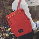 พร้อมส่ง กระเป๋าเป้ผ้า สะพายหลังใบใหญ่ สไตล์Anello-flap ติดโลโก้ LIVING TRAVELING SHARE แฟชั่นเกาหลี Fashion bag รหัส NA-436 สีแดง