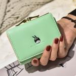 พร้อมส่ง กระเป๋าสตางค์ผู้หญิงใบสั้น กระเป๋าสตางค์นักเรียนแฟชั่นเกาหลี รหัส G-035 สีเขียว