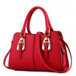 พร้อมส่ง ขายส่งกระเป๋าผู้หญิงถือลาย แต่งเข็มขัด กระเป๋าผู้ใหญ่ถือออกงาน ถือทำงาน รหัส Yi-2093 สีไวน์แดง