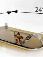หิ้งพระ Modern รุ่นดอกไม้สีทอง ฐานสีชา รุ่น F2-C