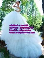 ชุดแต่งงานราคาถูก กระโปรงเป็นลอนยาว ws-023 pre-order