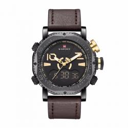 นาฬิกา Naviforce รุ่น NF9094M สีทอง/สายน้ำตาลเข้ม ของแท้ รับประกันศูนย์ 1 ปี ส่งพร้อมกล่อง และใบรับประกันศูนย์ ราคาถูกที่สุด