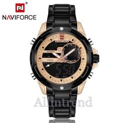 นาฬิกา Naviforce รุ่น NF9120M สีทองชมพู สายสีดำ ของแท้ รับประกันศูนย์ 1 ปี ส่งพร้อมกล่อง และใบรับประกันศูนย์ ราคาถูกที่สุด