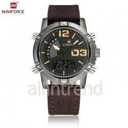 นาฬิกา Naviforce รุ่น NF9095M สีเหลือง/เทาดำ สายสีน้ำตาลเข้ม ของแท้ รับประกันศูนย์ 1 ปี ส่งพร้อมกล่อง และใบรับประกันศูนย์ ราคาถูกที่สุด