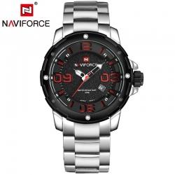 นาฬิกา Naviforce รุ่น NF9078M Red Silver นาฬิกาข้อมือสุภาพบุรุษ ของแท้ รับประกันศูนย์ 1 ปี ส่งพร้อมกล่อง และใบรับประกันศูนย์ ราคาถูกที่สุด