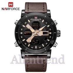 นาฬิกา Naviforce รุ่น NF9132M สีทองชมพู ดำ สายสีน้ำตาลเข้ม ของแท้ รับประกันศูนย์ 1 ปี ส่งพร้อมกล่อง และใบรับประกันศูนย์ ราคาถูกที่สุด