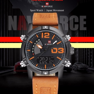 นาฬิกา Naviforce รุ่น NF9095M สีส้ม สายน้ำตาล ของแท้ รับประกันศูนย์ 1 ปี ส่งพร้อมกล่อง และใบรับประกันศูนย์ ราคาถูกที่สุด