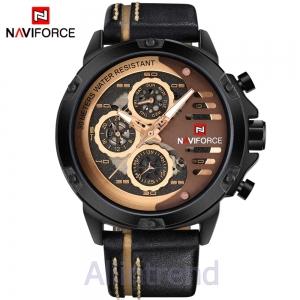 นาฬิกา Naviforce รุ่น NF9110M สีทองชมพู สายสีดำขีดสีแทน ของแท้ รับประกันศูนย์ 1 ปี ส่งพร้อมกล่อง และใบรับประกันศูนย์ ราคาถูกที่สุด