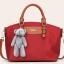 พร้อมส่งกระเป๋าถือและสะพายข้าง ผ้ากันน้ำ แฟชั่นเกาหลี Sunny-741 สีแดง * แถมตุ๊กตาหมี thumbnail 1