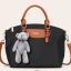 พร้อมส่งกระเป๋าถือและสะพายข้าง ผ้ากันน้ำ แฟชั่นเกาหลี Sunny-741 สีดำ * แถมตุ๊กตาหมี thumbnail 2