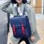 พร้อมส่ง กระเป๋าเป้สะพายหลังนักเรียน ใส่tab ใส่คอมพิวเตอร์ ใส่หนังสือปรับสะพายข้างได้ แฟชั่นเกาหลี Fashion bag รหัส DU-374 สีน้ำเงิน thumbnail 1