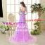 ชุดพรีเวดดิ้ง รัดรูปประดับดอกไม้-ชุดสีม่วง APD-2017-028 (Pre-Order) เกรด Premium thumbnail 8