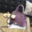 พร้อมส่ง ขายส่ง กระเป๋าผู้หญิงถือและสะพายข้างแฟชั่นสไตล์เกาหลี แต่งพู่สามสี รหัส KO-199 สีม่วง thumbnail 1
