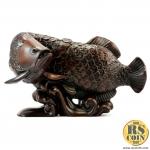 รูปปั้นหิน - ปลาอโรวาน่านำโชค (Thai Sculpture Stone Fish Arowana Chinese Design)