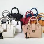 กระเป๋าแฟชั่น แบรนด์ Amory รุ่น mini lock city bag หนังแท้ 100% มี 8 สี ดำ ขาวดำ น้ำตาล ครีม เทา กรม ชมพูนู๊ด แดง
