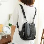 พร้อมส่ง กระเป๋าเป้สะพายหลังและสะพายข้างผู้หญิง แฟชั่นเกาหลี Sunny-836-1 สีดำเรียบ1 ใบ