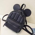 พร้อมส่ง กระเป๋าเป้สะพายหลัง ใบเล็กแต่งหูมิกกี้เมาท์ เป้นักเรียนผู้หญิงแฟชั่นเกาหลี TIANCAI รหัส C-227 สีดำ