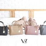 กระเป๋าแฟชั่น แบรนด์ V-Jasz รุ่น Basic Metal Tote Bag หนังวัวแท้ 100% มี 4 สี เทา,ชมพู,เบจ,ดำ