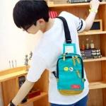พร้อมส่ง กระเป๋าผ้า คาดไหล่ คาดอก ใช้ได้ทั้งผู้หญิง-ผู้ชายวัยรุ่น นักเรียน แฟชั่นเกาหลี รหัส NA-703 สีฟ้า