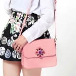 พร้อมส่ง กระเป๋าสะพายข้างใบเล็กแฟชั่นเกาหลี Axixi-10397 ของแท้ สีชมพู