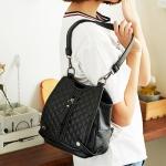 พร้อมส่ง กระเป๋าเป้สะพายหลังและสะพายข้างผู้หญิง แฟชั่นเกาหลี Sunny-836-2 สีดำเย็บตาราง