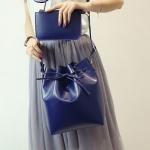 พร้อมส่ง กระเป๋าแฟชั่นสะพายข้างทรงขนมจีบ เช็ต 2 ใบ fashion bag รหัส G-093 สีน้ำเงิน