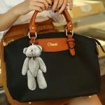 พร้อมส่งกระเป๋าถือและสะพายข้าง ผ้ากันน้ำ แฟชั่นเกาหลี Sunny-741 สีดำ * แถมตุ๊กตาหมี