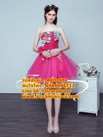 ชุดแต่งงาน [ ชุดพรีเวดดิ้ง Premium ] APD-004 กระโปรงสั้น สีชมพูเข้ม (Pre-Order)
