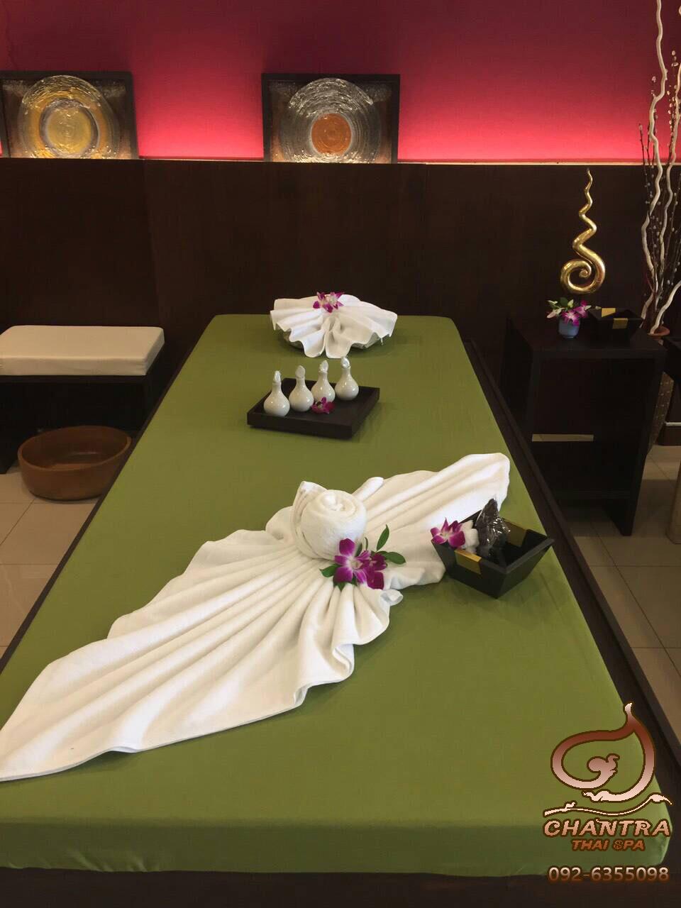 ผ้าปูนวดไทย สีเขียว