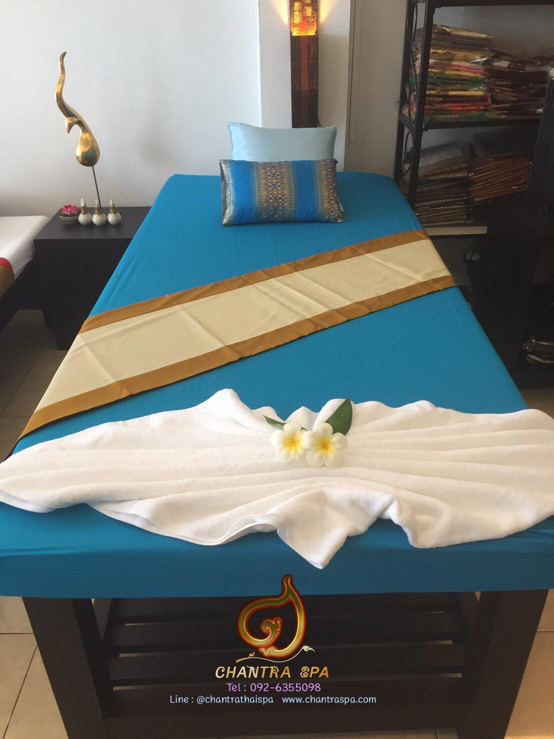 ผ้าปูนวดไทย สีฟ้า