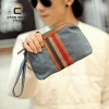 พร้อมส่ง กระเป๋าผู้ชาย คลัทซ์ผ้าใบพร้อมสายคล้องมือ แฟชั่นเกาหลี รหัส Man-827 สีฟ้า 2 ใบ