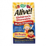 NATURE'S WAY ALIVE! CHILDREN'S MULTI-VITAMIN ORANGE & BERRY 120 CHWBLS - วิตามินรวมสำหรับเด็ก