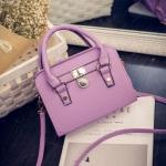 พร้อมส่ง กระเป๋าสะพายไหล่และกระเป๋าถือ สวยหรู มีเข็มขัดล็อคด้านหน้า แฟชั่นเกาหลี Fashion bag รหัส G-048 สีม่วง